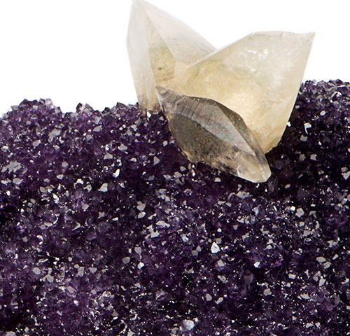 Amethyst Cluster with Calcite on Lucite Base Amethyst-Cluster_zoom1.jpg