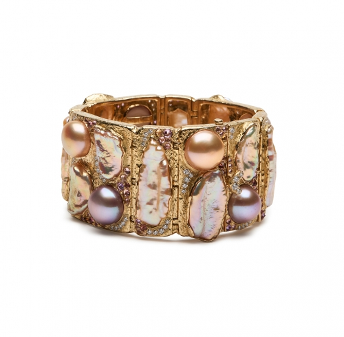 Multi-Colored Pearl, Sapphire, Tourmaline and Diamond Bracelet