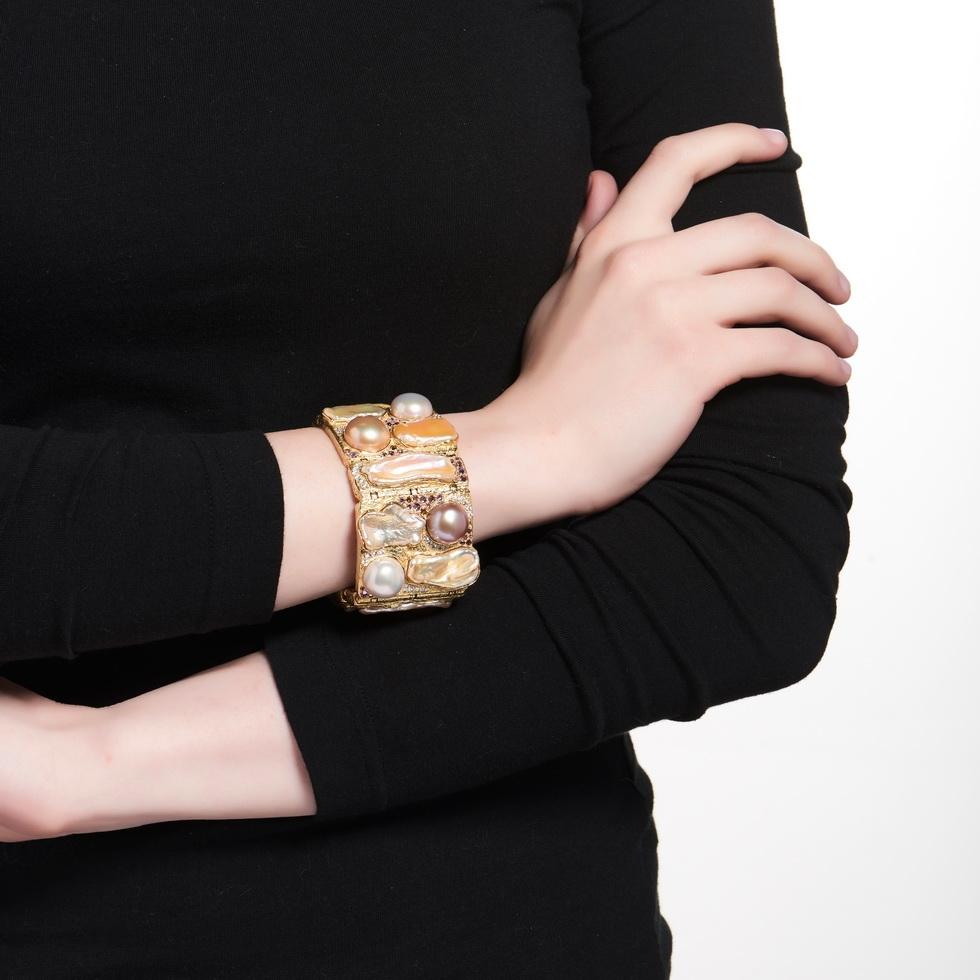 Multi-Colored Pearl, Sapphire, Tourmaline and Diamond Bracelet B-1252-11213_on_model.jpg