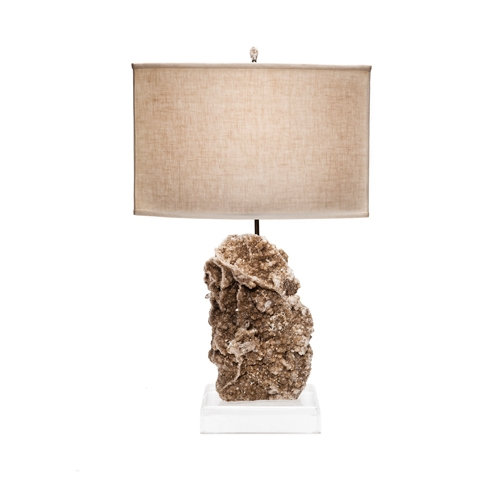 Mica & Quartz Crystal Specimen Lamp on Lucite Base Brazilian_Mica_and_Quartz_Crystal_Specimen_Lamp_on_Lucite_Base_with_Beige_Linen_Cornerstone_Shade_and_Desert_Rose_Finial.jpg