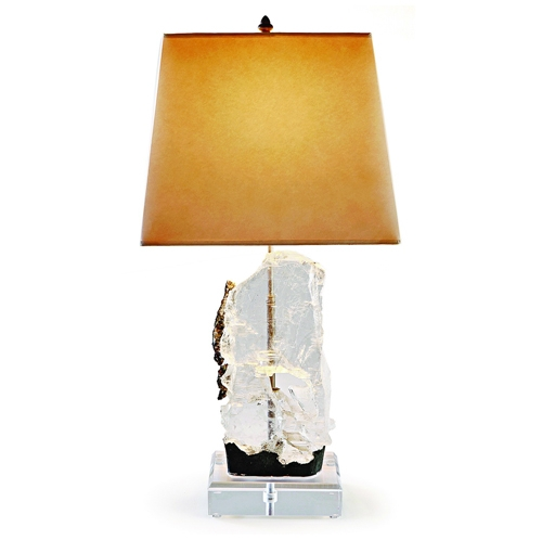 Selenite Lamp on Lucite Base Brazilian_Selenite_Specimen_Lamp_on_Lucite_Base_with_Hand_Tinted_Parchment_Shade_and_Bronze_Finial.jpg
