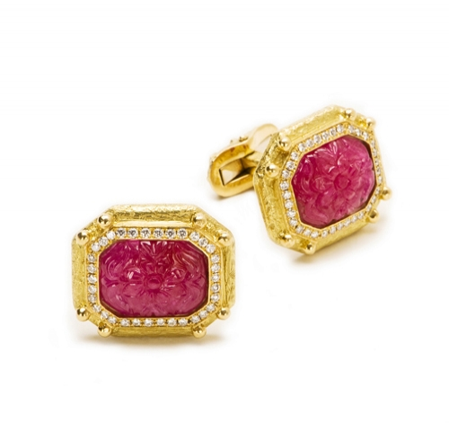 Carved Ruby & Diamond Cufflinks