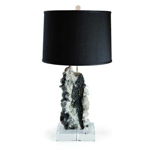 Octagon Calcite Specimen Lamp on Lucite Base Chinese_Octagon_Calcite_Specimen_Lamp_on_Lucite_Base_with_Black_Silk_Shade_and_Rock_Crystal_Orb_Finial.jpg