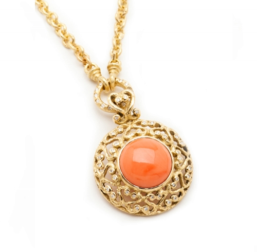 Coral & Diamond Pendant