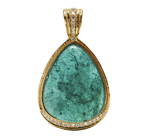 Blue Tourmaline & Diamond Pendant
