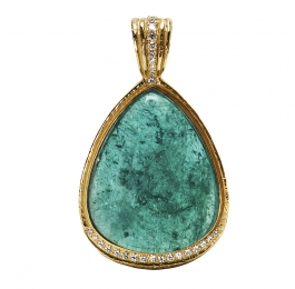 Blue Tourmaline & Diamond Pendant