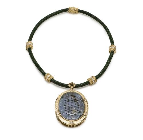Carved Blue Jade & Diamond Pendant