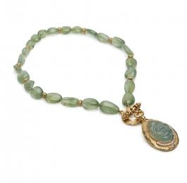 Prehnite, Diamond and Tanzanite Pendant