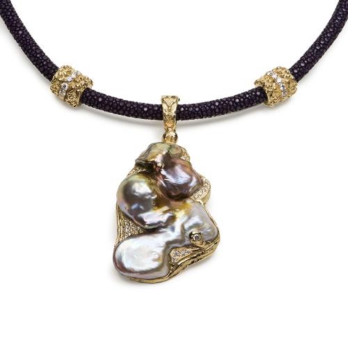 Free Form Freshwater Pearl & Diamond Pendant