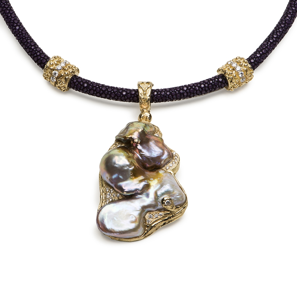 Free Form Freshwater Pearl & Diamond Pendant D-1264-11778_Free-Form_Bronze,_Purple_White_Fw_Pearl_Diamond_Pendant_on_5mm_Violet_Stingray_Necklace_with_Dia_Double_Laura_Rondelles_resize(1).jpg