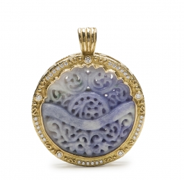 Carved Lavender Jade & Diamond Pendant