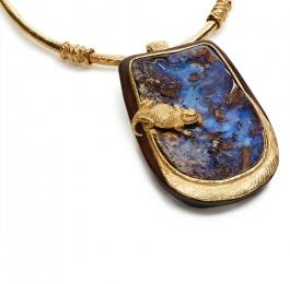 Cocobolo & Boulder Opal Pendant