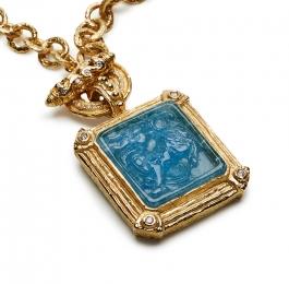 Carved Aqua & Diamond Pendant