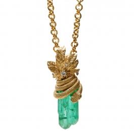 Mint Tourmaline & Diamond Snake Pendant