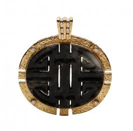 Carved Gray Jade & Diamond Pendant