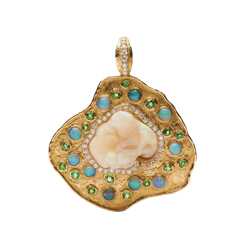 Carved Opal, Garnet and Diamond Pendant