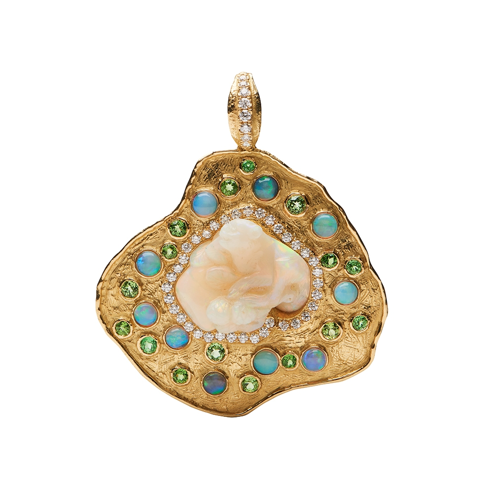 Carved Opal, Garnet and Diamond Pendant D-1287-12390_18k_yg_Carved_Opal_Bear,_Opal,_Fac._Demantoid_Garnet_and_Diamond_Pendant_.jpg