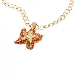 Fire Opal and Brown Diamond Starfish Pendant