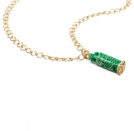 Carved Green Burmese Jade and Diamond Pendant