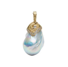 White Pearl and Diamond Pendant