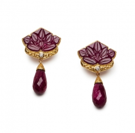 Carved Ruby & Diamond Earrings with Ruby Briolette Drops