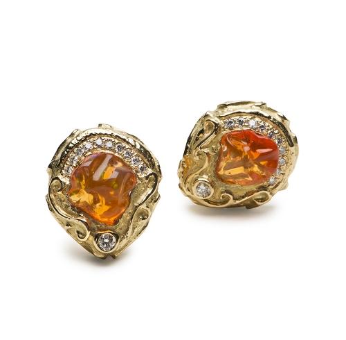 Mexican Opal & Diamond Earrings