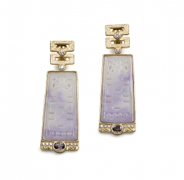 Carved Jade, Spinel & Diamond Earrings