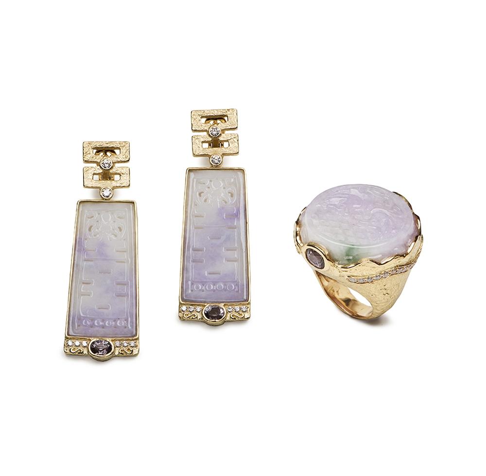 Carved Jade, Spinel and Diamond Ring E-1479-11839_R-1456-12568_18k_yg_Carved_Lavender_Jade,_fac._Lavender_Spinel_and_Diamond_Ring_and_Dangle_Earrings_.jpg