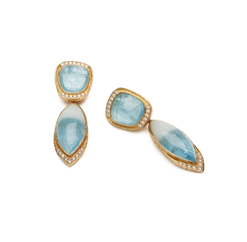 Aqua and Diamond Earrings with Removable Drops