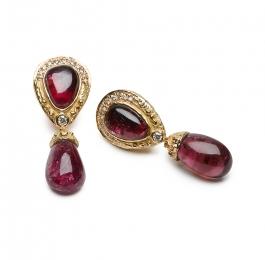 Grape Tourmaline & Diamond Dangle Earrings