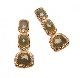 Faceted Sapphire Slice & Diamond Dangle Earrings