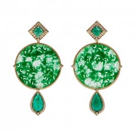 Faceted Emerald, Carved Green Burmese Jade & Diamond Dangle Earrings
