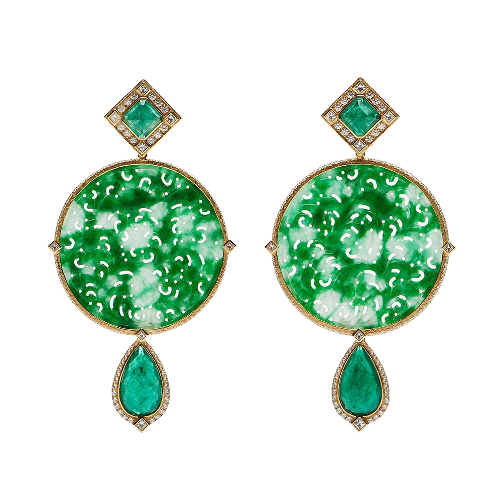 Faceted Emerald, Carved Green Burmese Jade & Diamond Dangle Earrings E-1489-12194_Fac._Emerald,_Carved_Green_Burmese_Jade_Dia_._Dangle_Earrings_(1)_.jpg