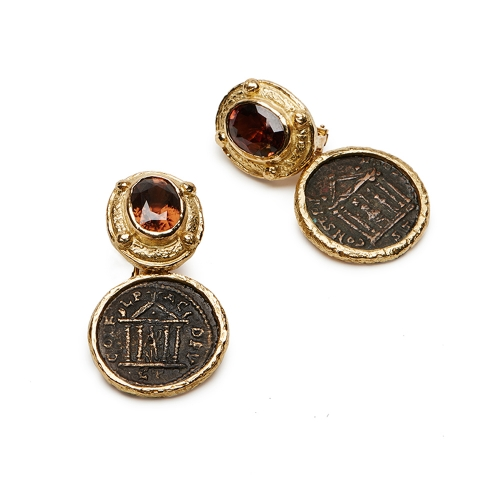 Faceted Brown Zircon Earrings with Removable Ancient Bronze Coin Dangles
