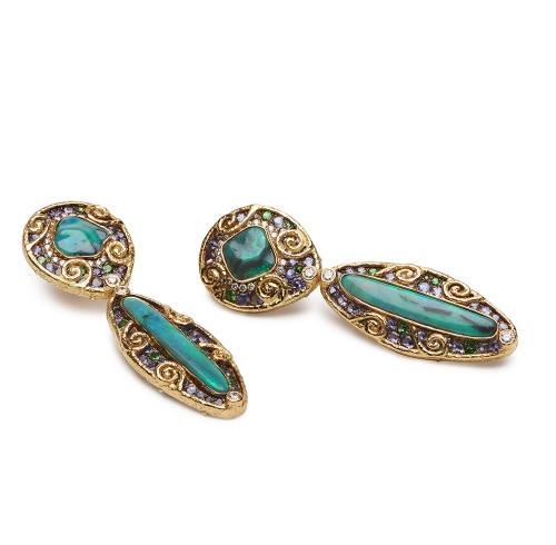 Opal, Tanzanite, Tsavorite and Diamond Earrings