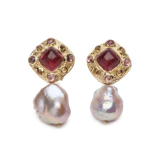 Sugarloaf Tourmaline and Pearl Earrings