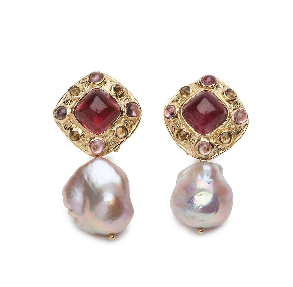 Sugarloaf Tourmaline and Pearl Earrings E-1513-13003_18k_yg_Sugarloaf_Pink_Tourmaline,_Cab_Pink_Tourmaline_and_Fac._Golden_Tourmaline_Earrings_.jpg