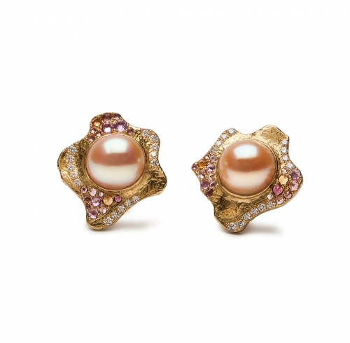 Pearl, Sapphire, Tourmaline and Diamond Earrings