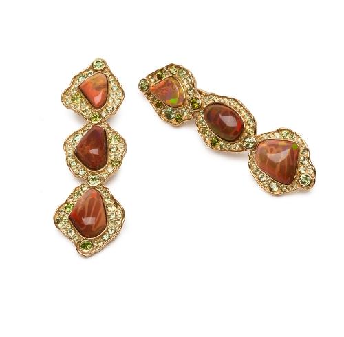 Ethiopian Opal and Garnet Earrings