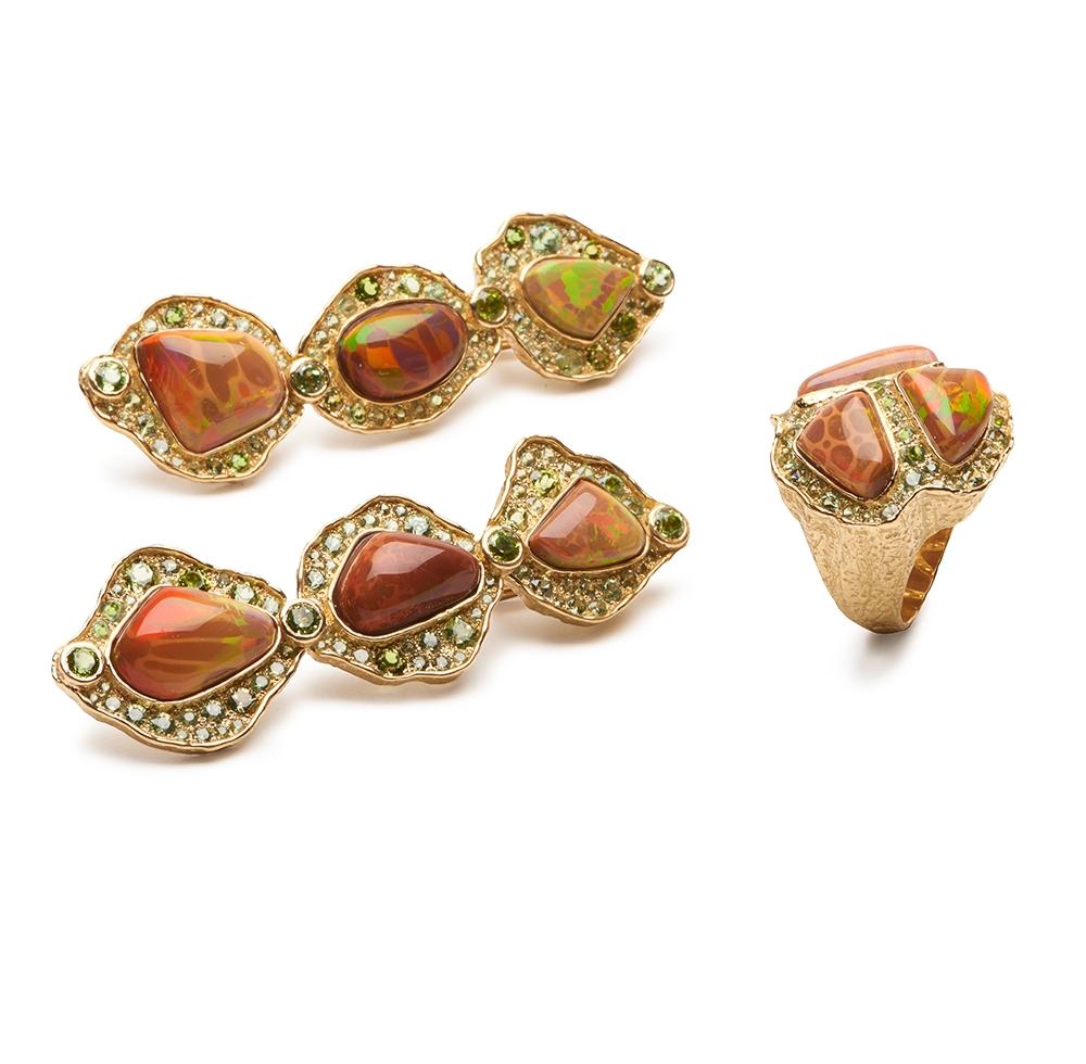 Ethiopian Opal and Garnet Earrings E-1525-13331_R-1491-13332_18k_yg_Ethiopian_Opal,_Demantoid_Garnet_Ring_and_Earrings.jpg