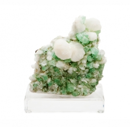 Green Apophylite & Stillbite Specimen on Lucite Base