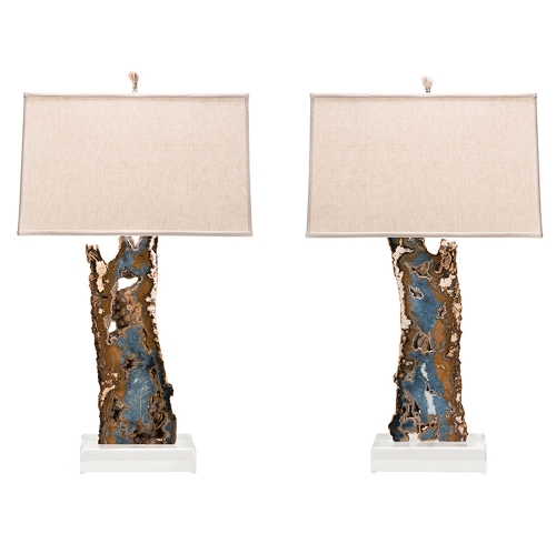 Blue & Brown Agate Slab Lamp Pair on Lucite Bases