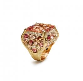 Faceted Morganite, Multi Tourmaline & Diamond Ring