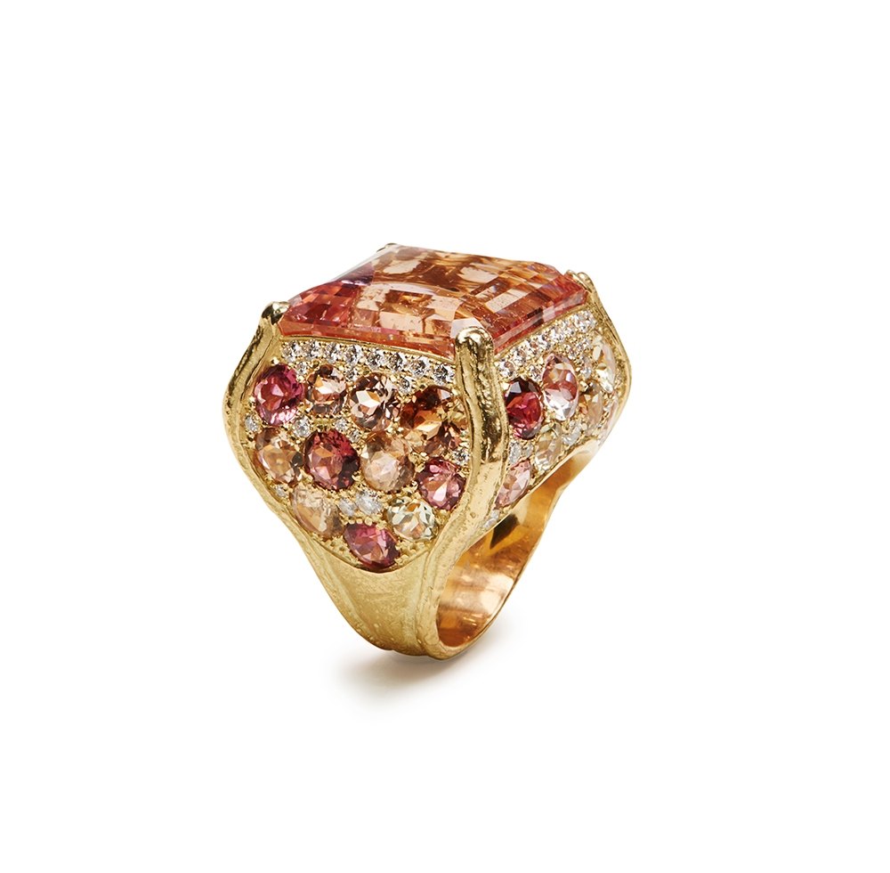 Faceted Morganite, Multi Tourmaline & Diamond Ring Kennon70392.jpg