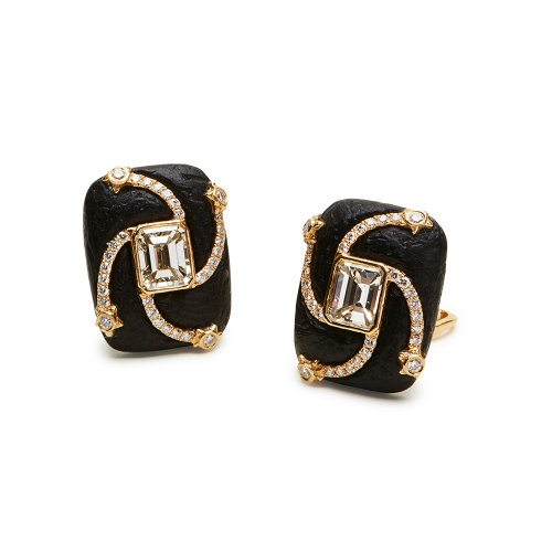 Ebony & Diamond Swirl Earrings