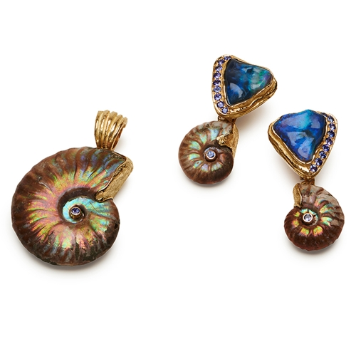Opalized Ammonite & Faceted Tanzanite Pendant