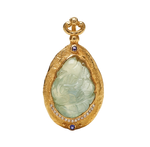 Carved Prehnite, Diamond & Faceted Tanzanite Pendant