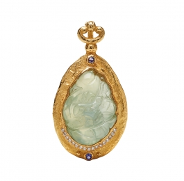 Carved Prehnite, Diamond & Faceted Tanzanite Pendant