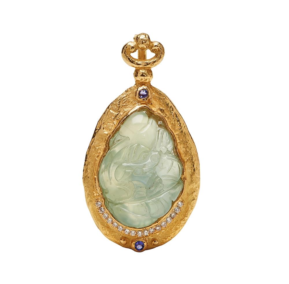 Carved Prehnite, Diamond & Faceted Tanzanite Pendant Kennon72683.jpg