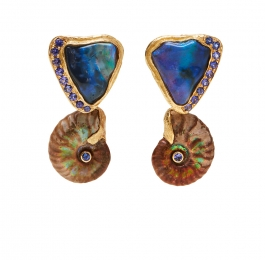 Lightning Ridge Black Opal with Tanzanite Earrings & Opalized Ammonite with Faceted Tanzanite Drops